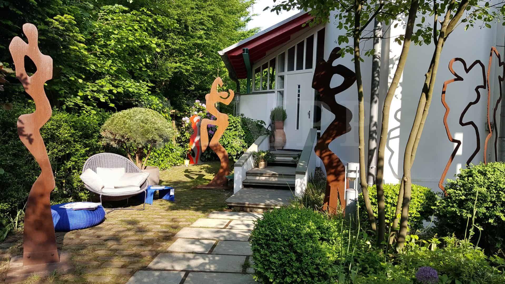 Moderne Gartenskulptur Aus Metall Rost Edelstahl
