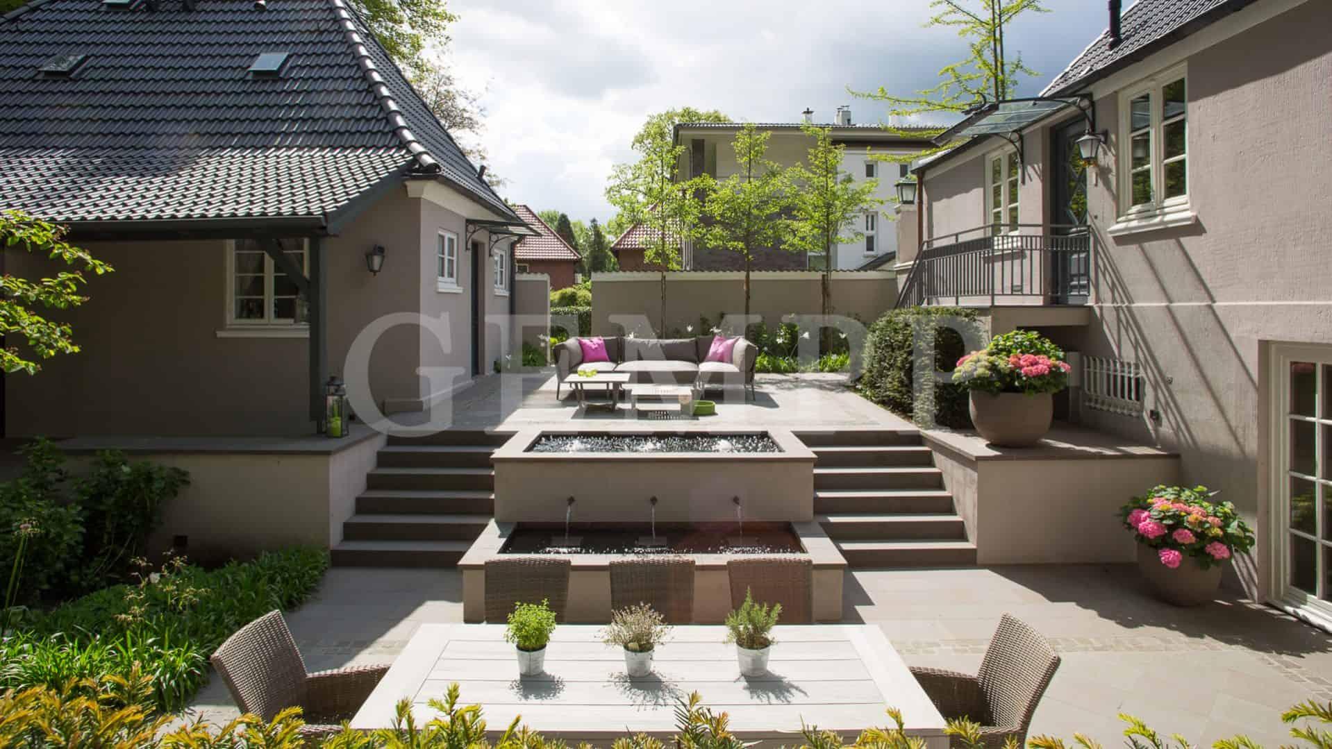atriumgarten mit wasserspielen gartengestaltung. Black Bedroom Furniture Sets. Home Design Ideas