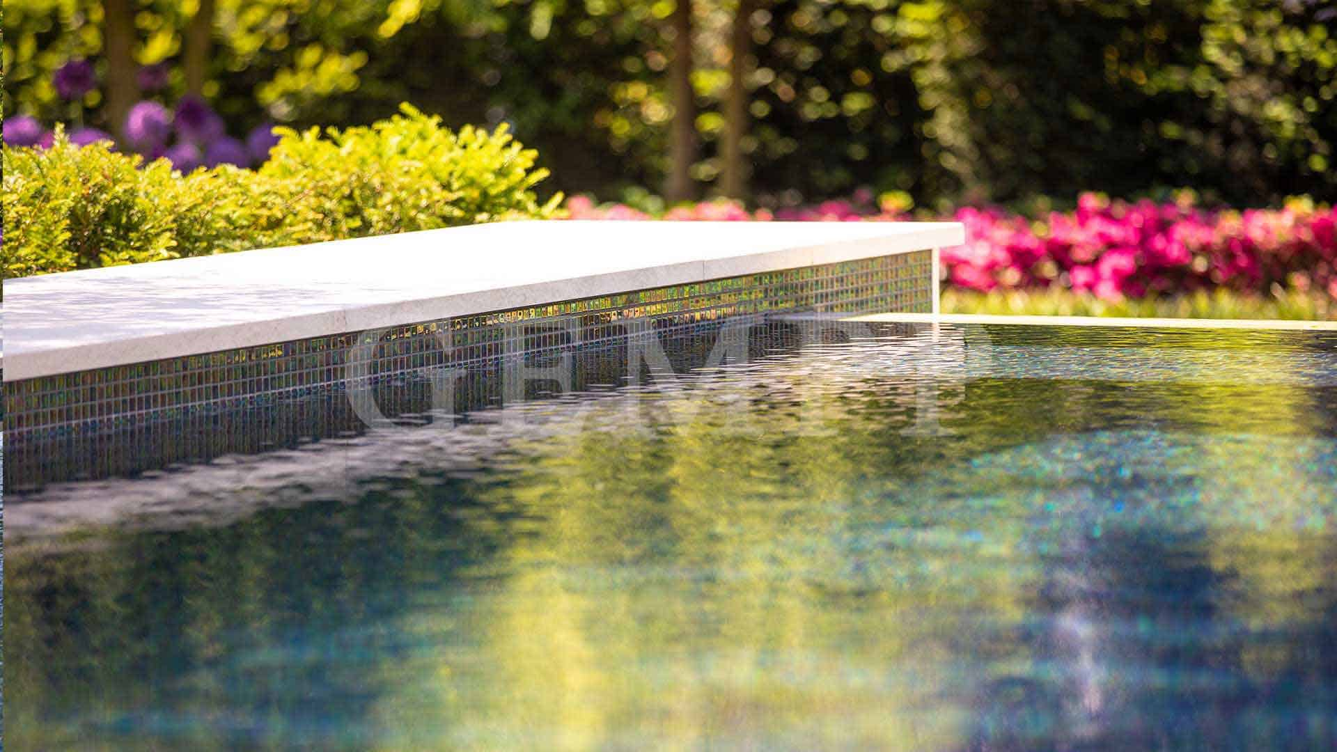 moderner Schwimmteich im Garten