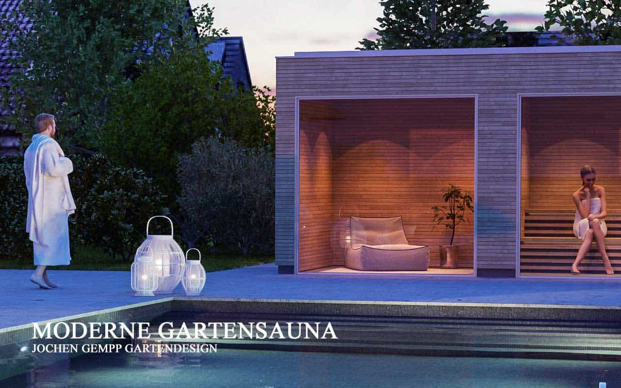Moderne Panorama Gartensauna mit Whirlpool