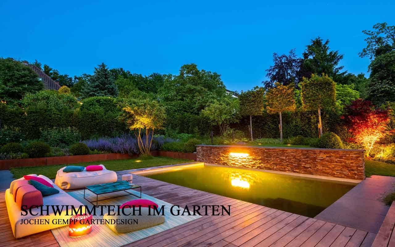 Schwimmteich im Garten Bild