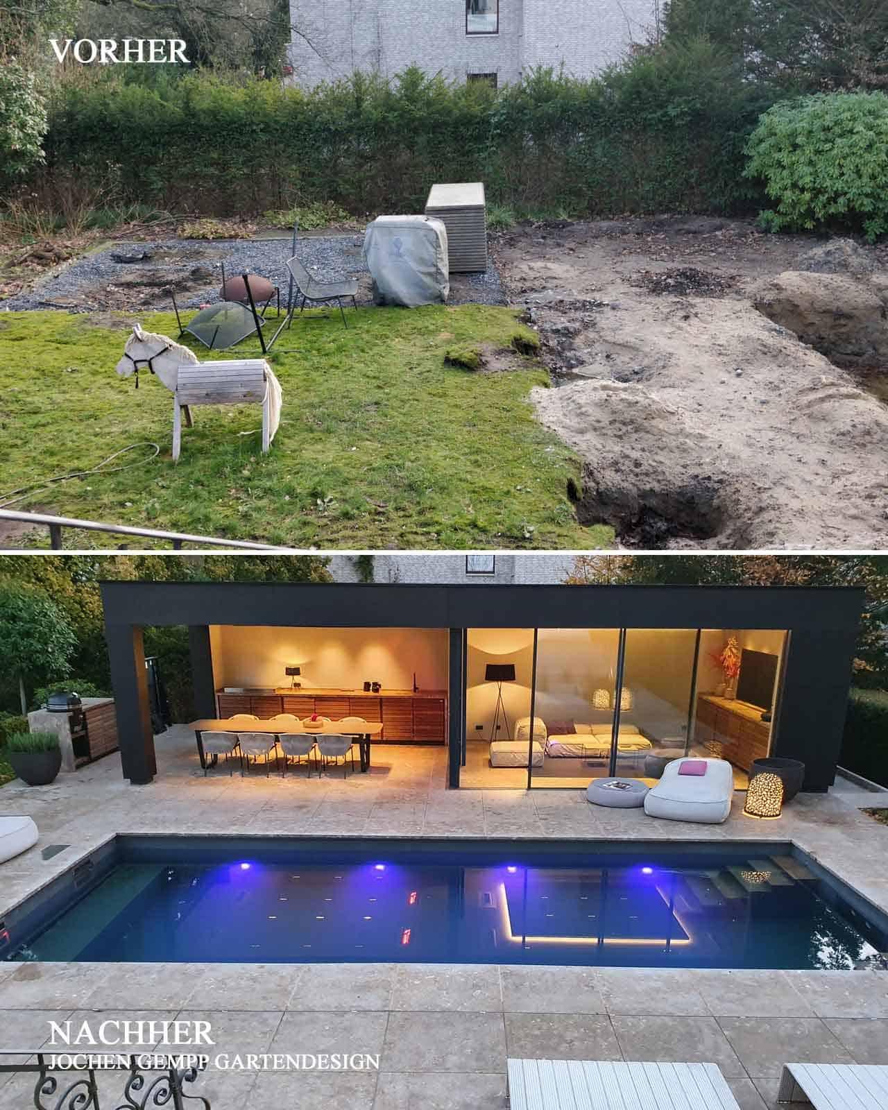 Poolhaus mit Pool im Garten Vorher Nachher